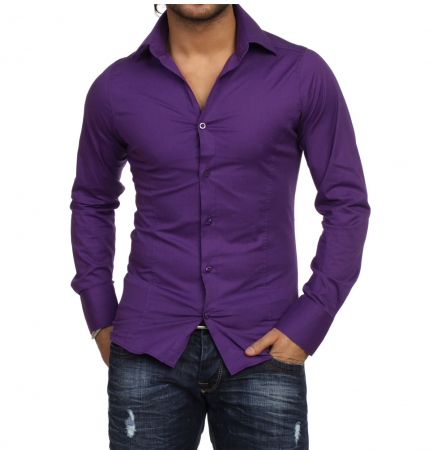 chemise cintr homme violet pas cher ta 9000 pour. Black Bedroom Furniture Sets. Home Design Ideas