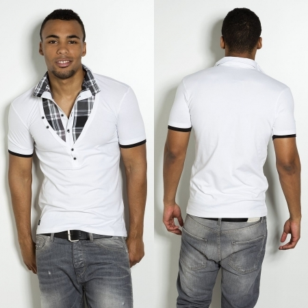 T-shirt blanc a col chemise CA 4024