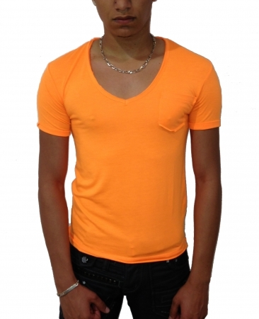 T-shirt homme à col V orange fluo IK164