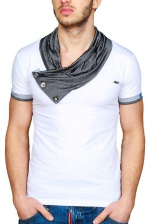 T-shirt homme fashion blanc R231221