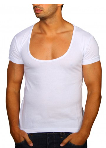 t shirt homme grand col rond