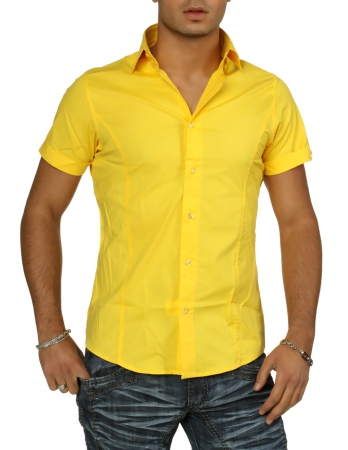 chemise homme cintr jaune 321 6000 pas cher pour. Black Bedroom Furniture Sets. Home Design Ideas