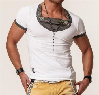 T-shirt homme camouflage ca4054 blanc
