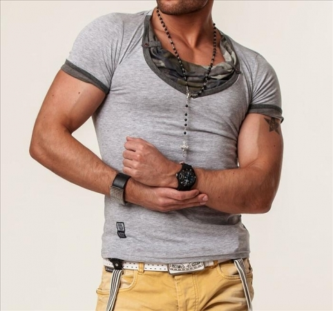 T-shirt gris col camouflage 4054