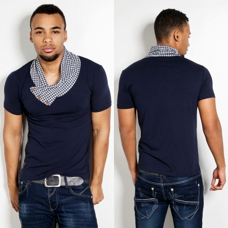 T-shirt bleu a col fashion CA 4058