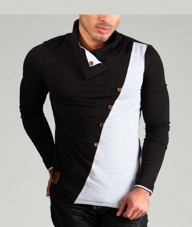 T-shirt manche longue homme bi-color black/ gris 3075