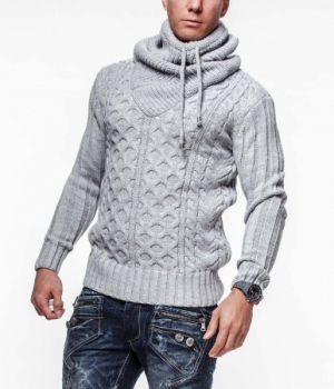 Pull homme  fashion gris col montant 7080