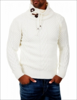 Pull homme  fashion écru col montant 7085