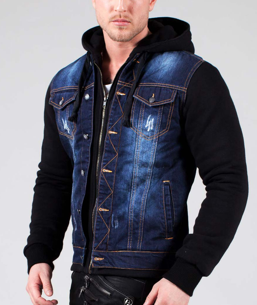 veste en jean avec manche en cuir pour homme site de v tements en jean la mode. Black Bedroom Furniture Sets. Home Design Ideas