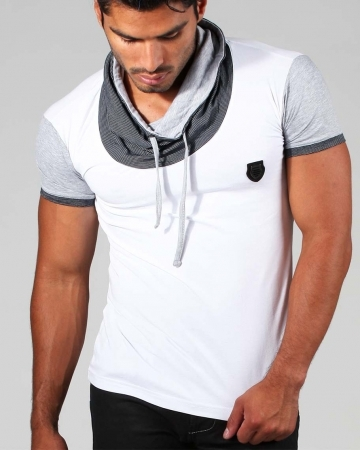 T-shirt homme tendance col montant 1253