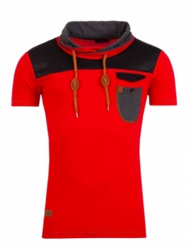 T-shirt homme col montant rouge 125