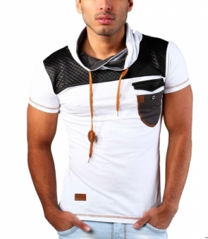 T-shirt homme col montant blanc 125