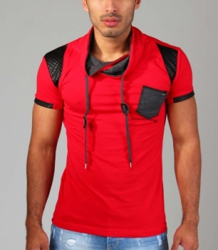 T-shirt homme fashion col montant rouge 108