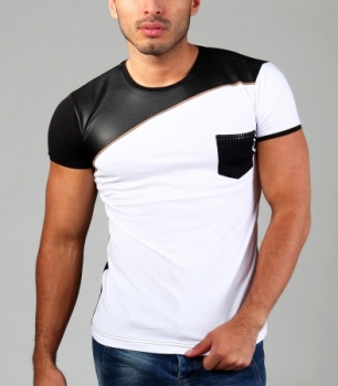 T-shirt homme fashion blanc 151