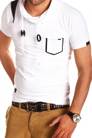 T-shirt homme col montant blanc 132