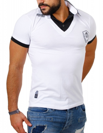 T-shirt homme blanc col chemise 412