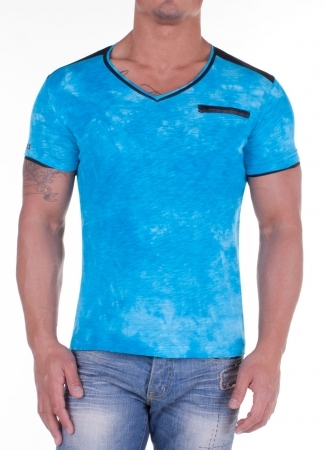 T-shirt homme bleu turquoise 41256