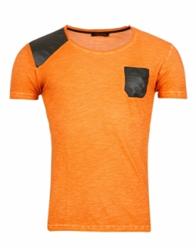 T-shirt homme orange poche cuir noir 1333