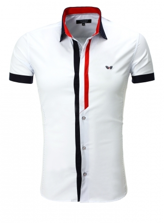 chemise italienne homme blanche manche courte 9007