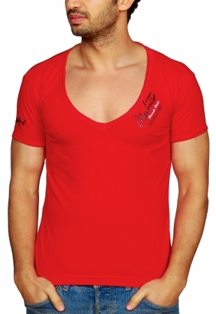 t-shirt homme col v rofond rouge r221213