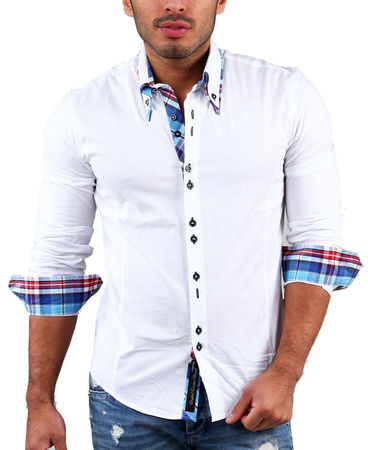 Chemise homme italienne blanc 110 - Chemise homme fashion coupe italienne cintree ...