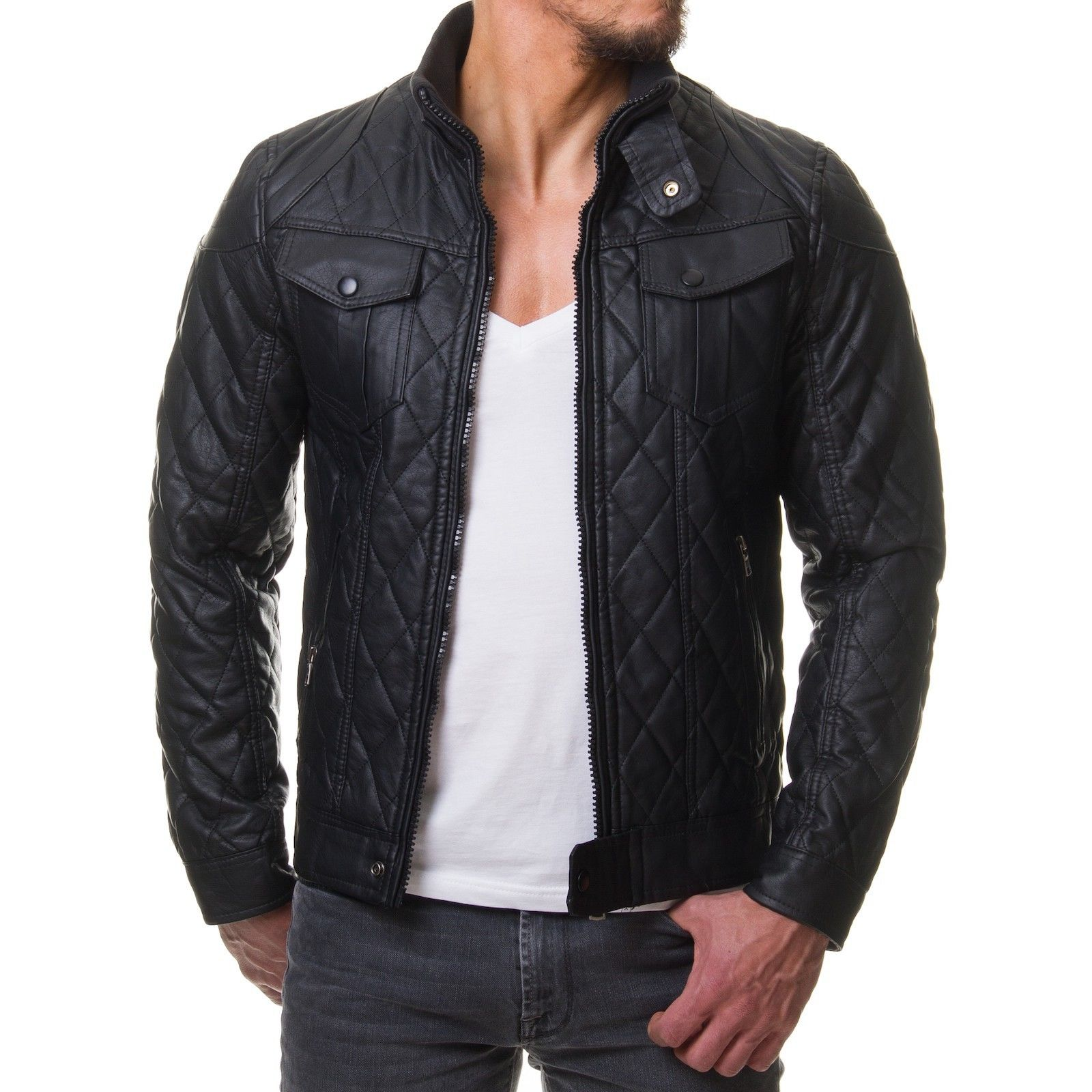 Veste Simili Cuir Fashion Homme