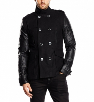 Trench homme noir manche  cuir Pu