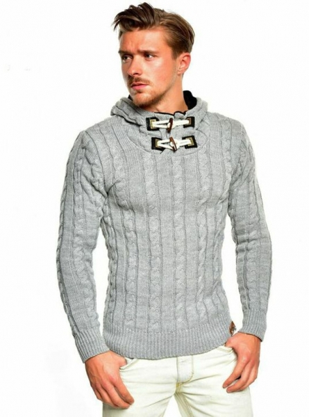 Pull homme capuche gris  422