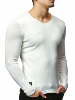 Pull fin homme blanc 7227