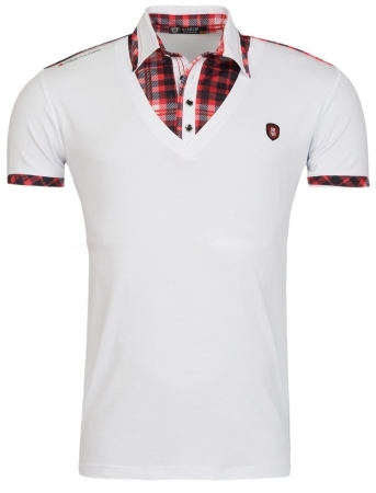 T-shirt homme blanc col chemise 1914
