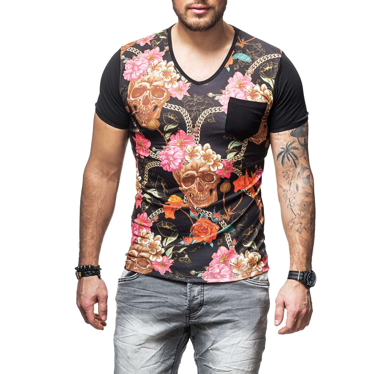 t shirt homme fleurs t te de mort 486. Black Bedroom Furniture Sets. Home Design Ideas