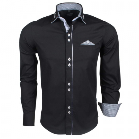 Chemise italienne homme classe noir 849 - Chemise homme fashion coupe italienne cintree ...