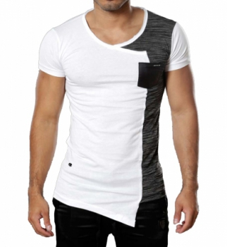 T-shirt homme asymetrique fashion blanc 193