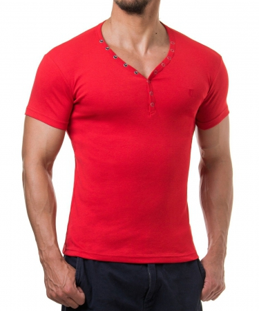 T-shirt col v rouge ANDALOUS 173