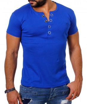 T-shirt col v bleu royal MIDDLE 172