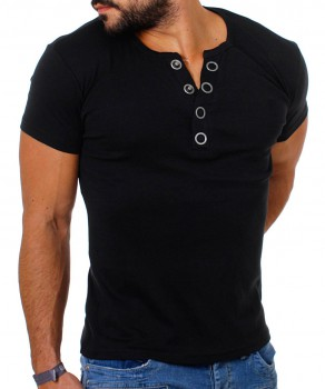 T-shirt col v noir MIDDLE 172