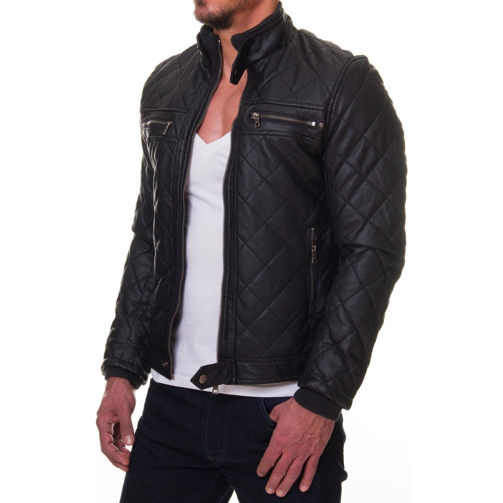 Veste homme blanche simili cuir neuf