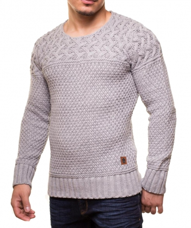 Pull laine homme maille abeille gris 760