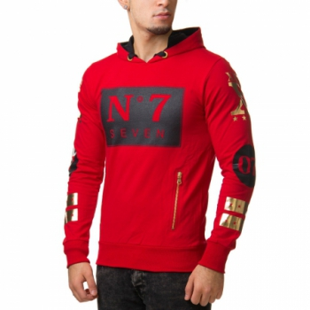 Sweat homme rouge à capuche SEVEN 2219