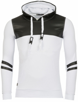 Sweat homme blanc  simili cuir 2215