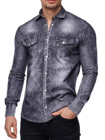 chemise jeans homme gris 310 pour. Black Bedroom Furniture Sets. Home Design Ideas