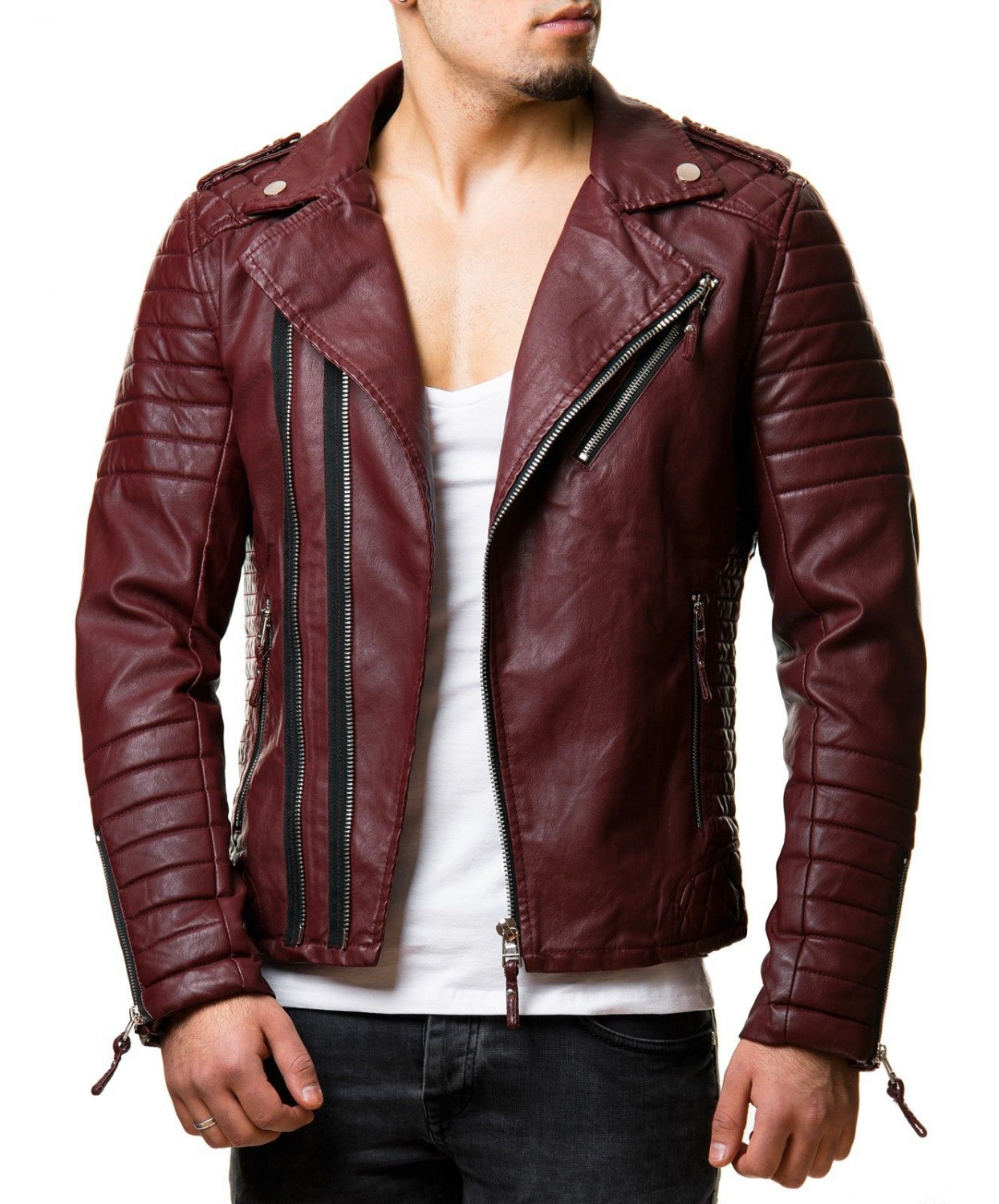 Veste simili cuir marron homme
