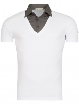 t-shirt  homme blanc  col chemise 105