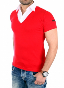 t-shirt  homme rouge  col chemise 105