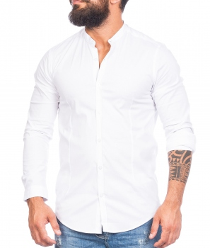 chemise homme col mao blanc 518