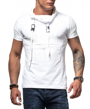 T-shirt homme blanc  col montant 1004