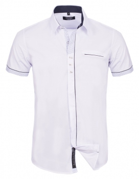 chemise italienne homme manche courte blanche 988