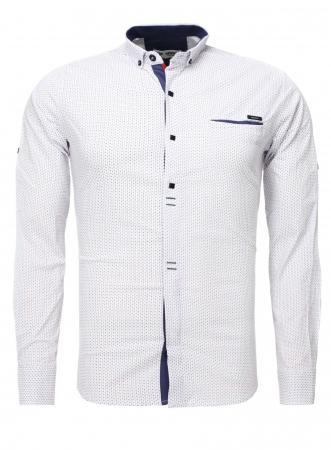 Chemise homme italienne blanche rikko 6207 - Chemise homme fashion coupe italienne cintree ...