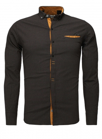 Chemise homme italienne noir rikko 6207 - Chemise homme fashion coupe italienne cintree ...