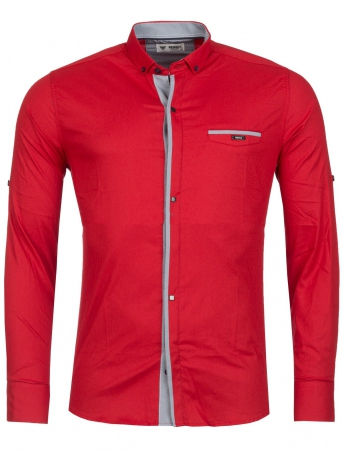 Chemise homme italienne rouge frik 6210 - Chemise homme fashion coupe italienne cintree ...